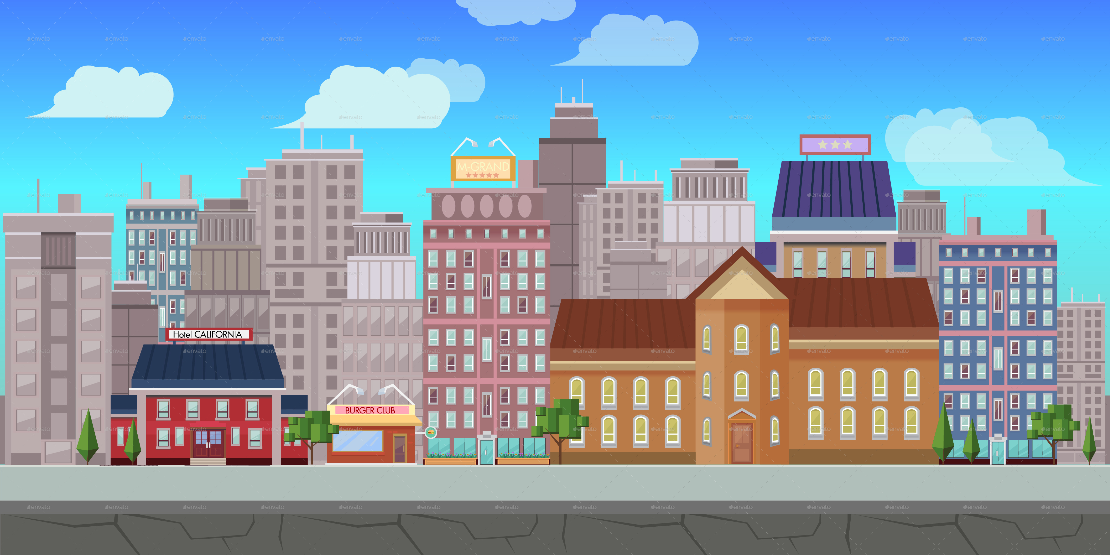 4 City Backgrounds By Vitaliyvill Graphicriver