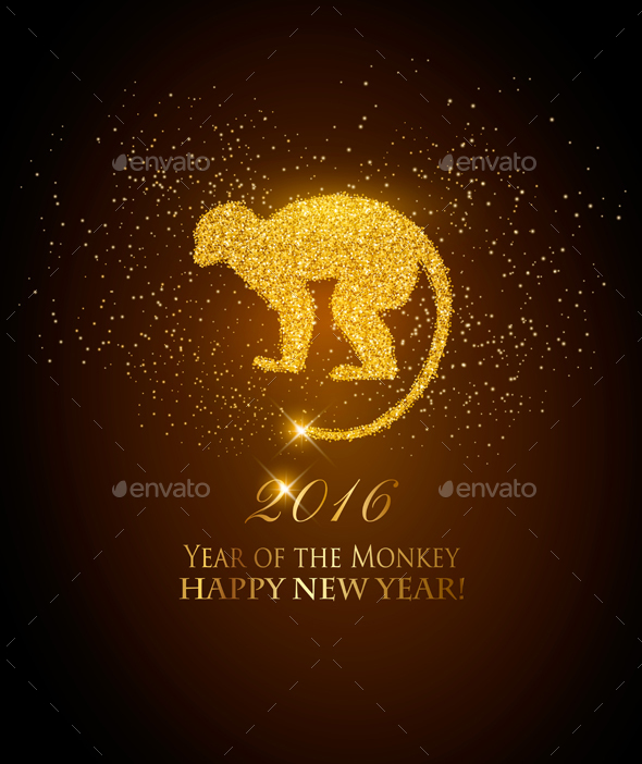 Happy New Year 2016 Background with a Monkey - New Year Seasons/Holidays