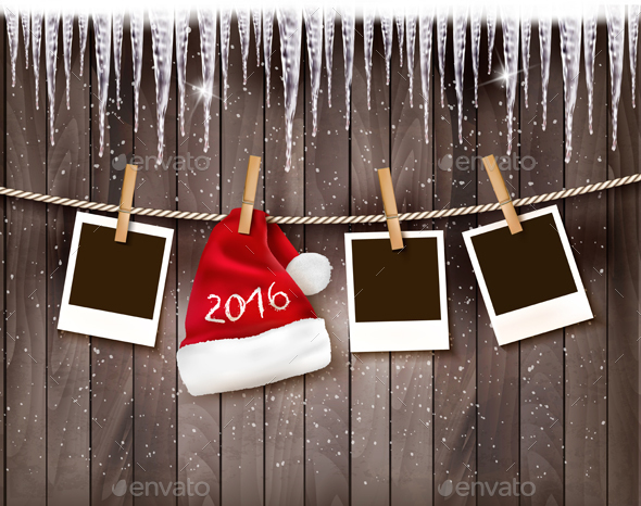 Holiday Background with a Santa Hat and Photos - New Year Seasons/Holidays
