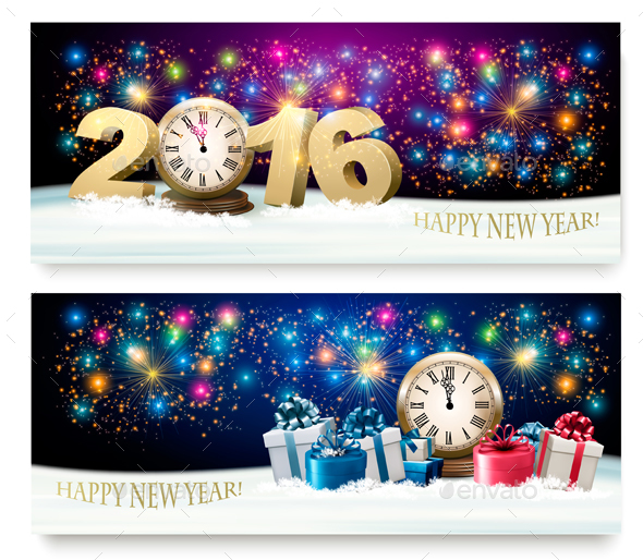 Happy New Year Banners with 2016 - New Year Seasons/Holidays