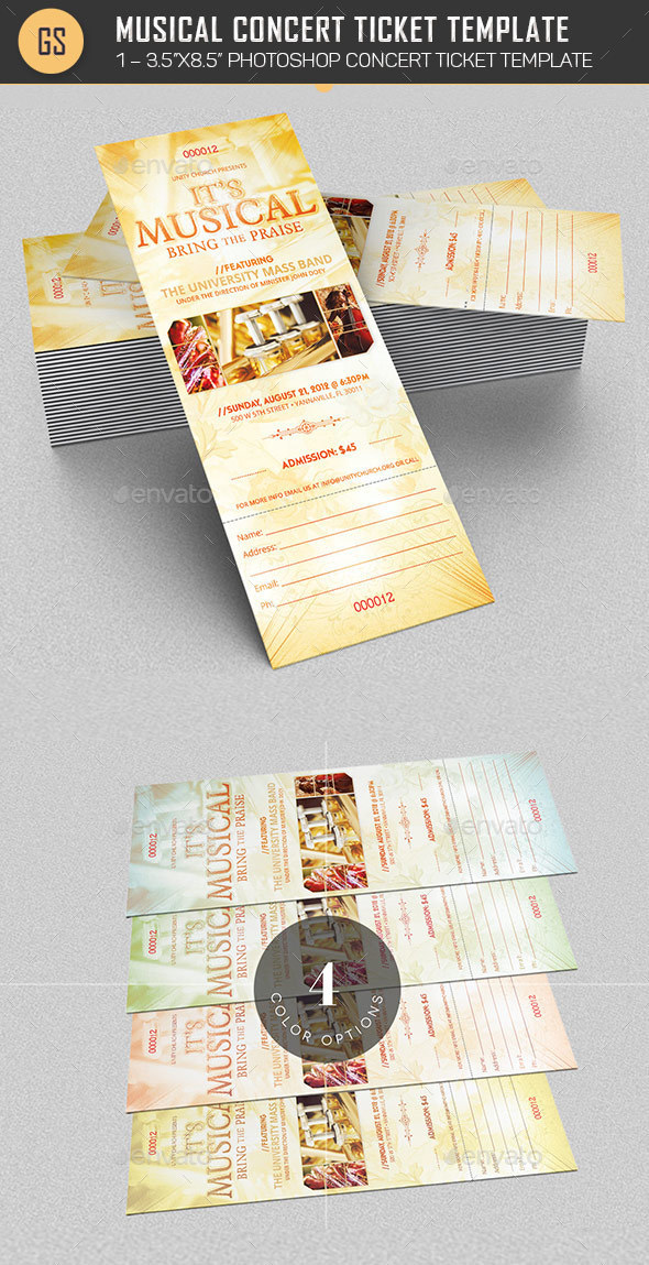 Musical Concert Ticket Template - Miscellaneous Print Templates