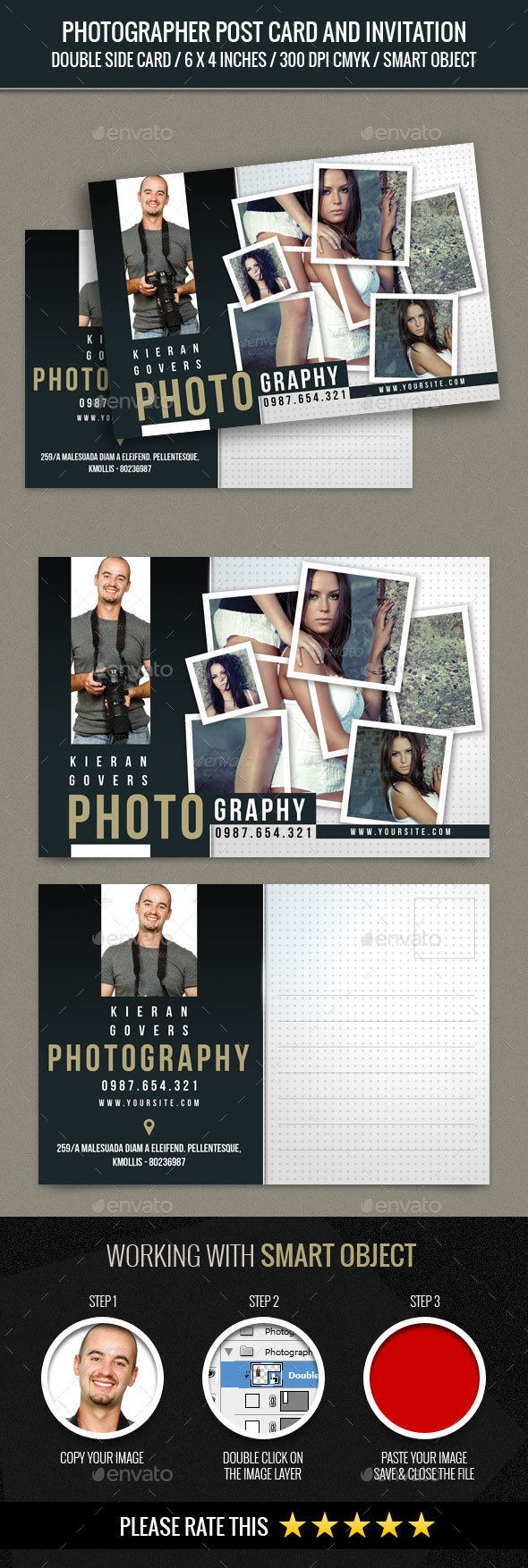 Photographer and Photography Post Card - Cards & Invites Print Templates