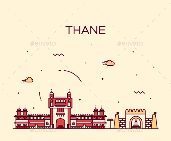 Thane Skyline Silhouette Vector Linear Style - Travel Conceptual