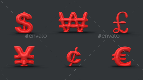 3D Balloon Currency Symbols - 3D Renders Graphics