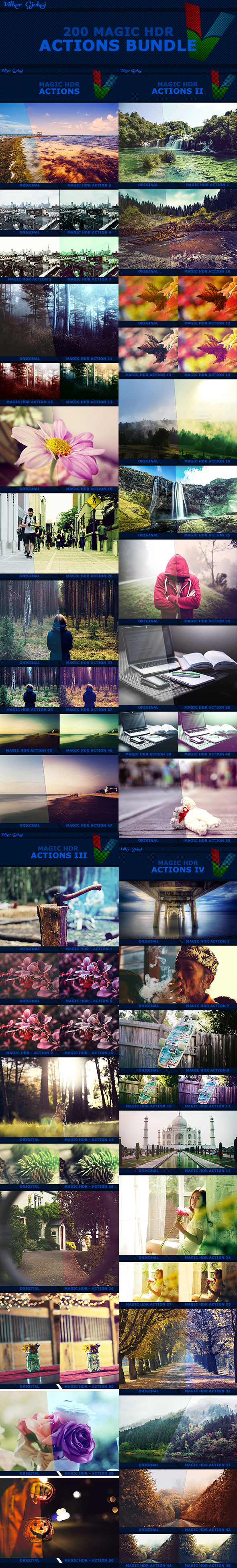 200 Magic HDR Actions Bundle - Photo Effects Actions