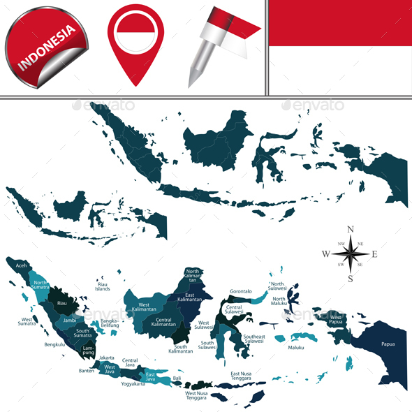 Map of Indonesia - Travel Conceptual