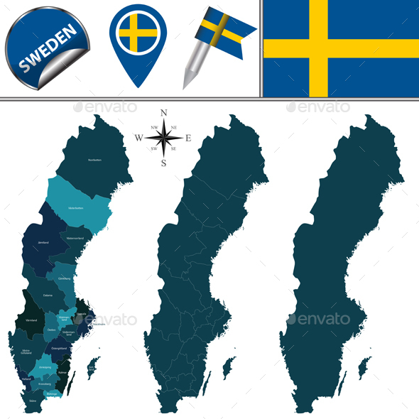 Map of Sweden - Travel Conceptual