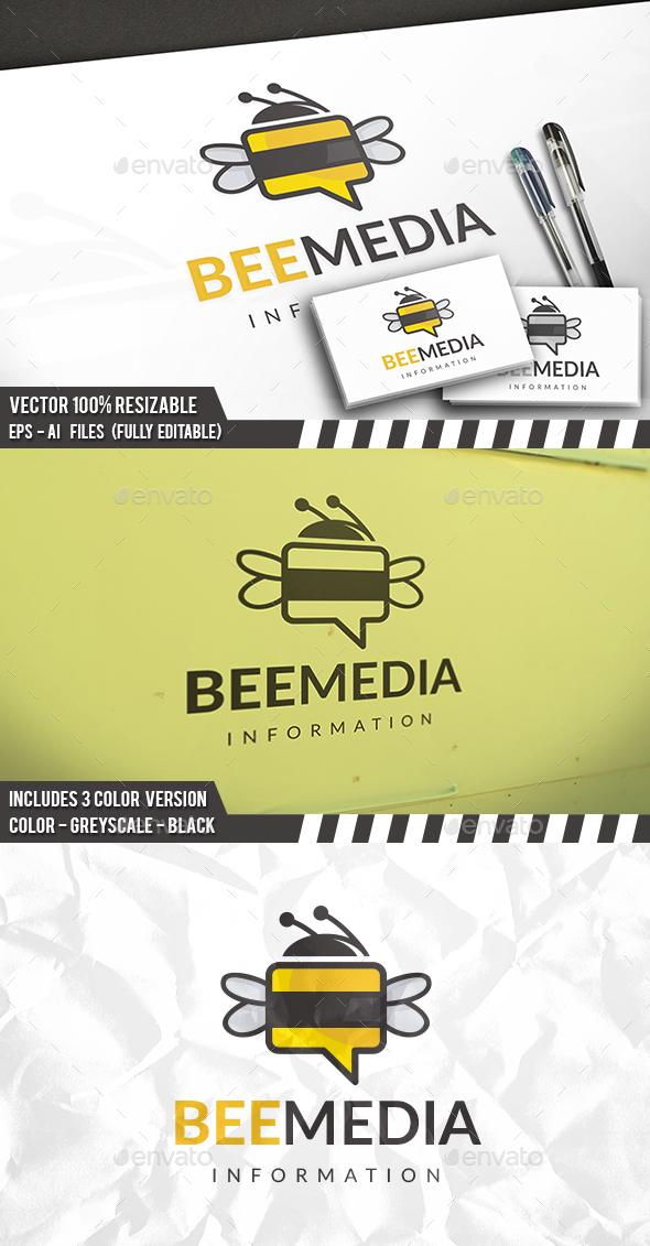 Bee Chat Logo - Animals Logo Templates