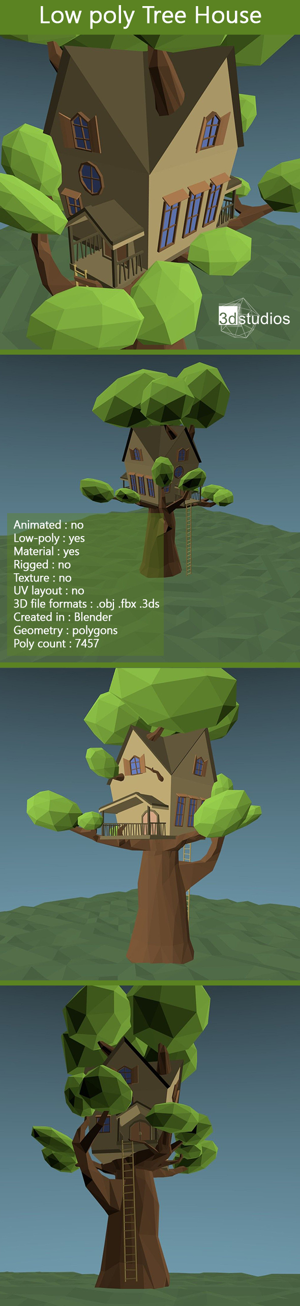 Low Poly Tree House - 3DOcean Item for Sale