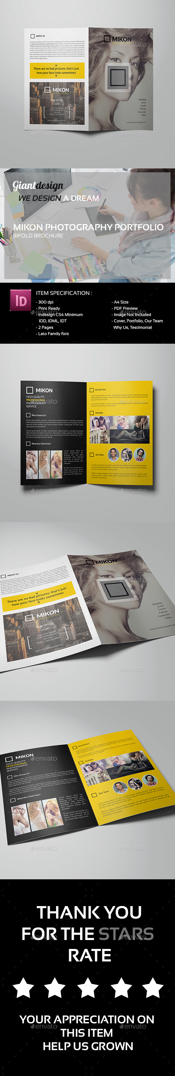 Mikon - Photography Portfolio Bifold - Portfolio Brochures