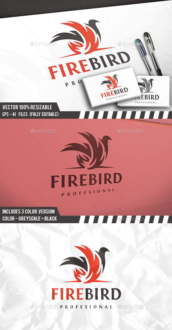 Flame Bird Logo - Animals Logo Templates
