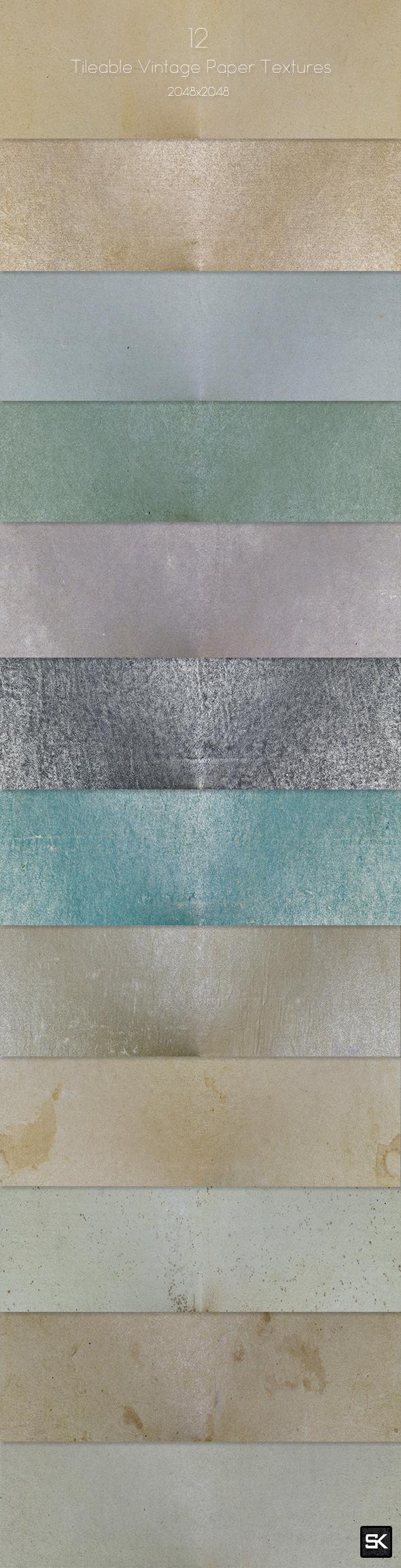 12 Tileable Vintage Paper Textures - Miscellaneous Textures / Fills / Patterns