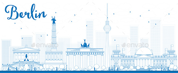 Outline Berlin Skyline with Blue Buildings - Buildings Objects