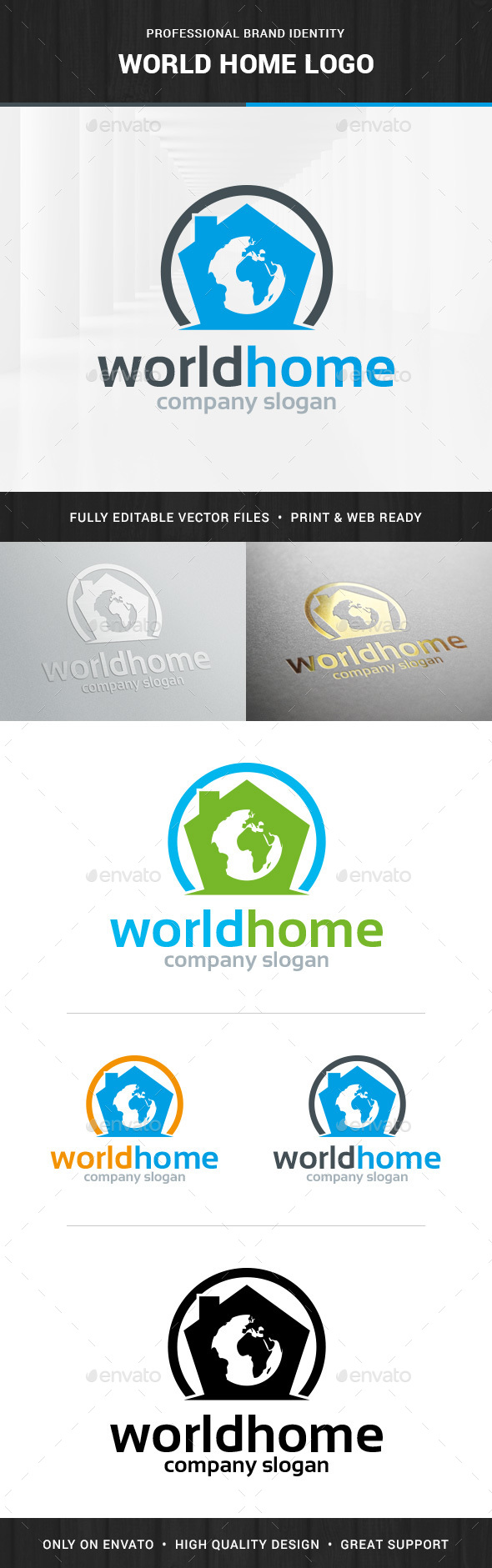 World Home Logo Template - Buildings Logo Templates