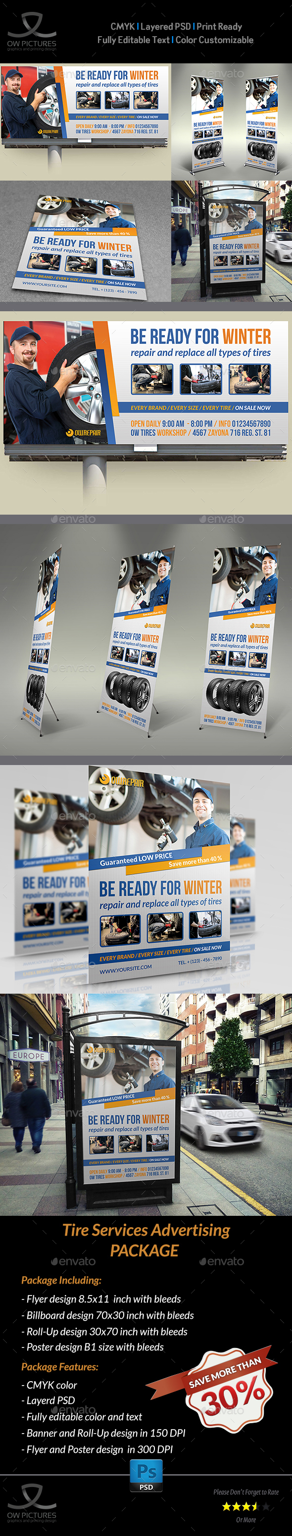 Tire Services Advertising Bundle - Signage Print Templates