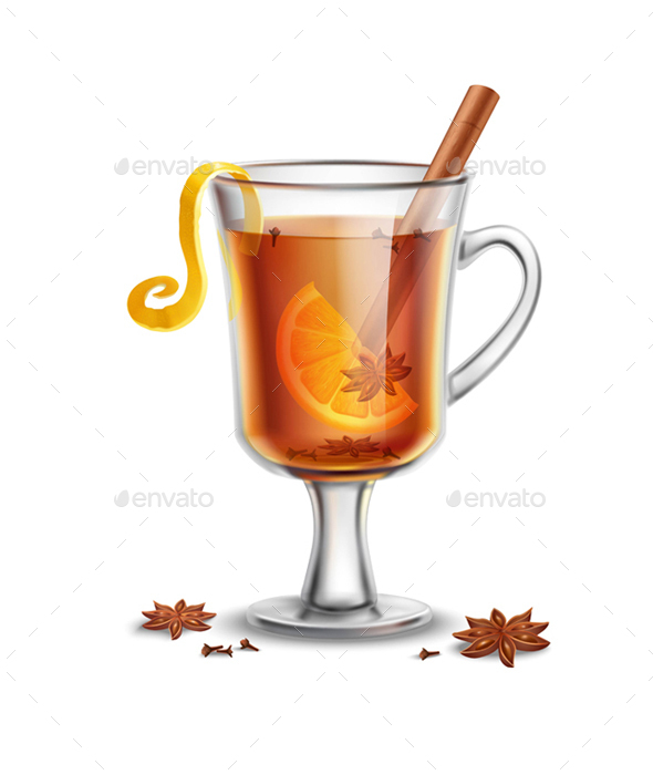 Hot Rum Drink with Spices - Food Objects