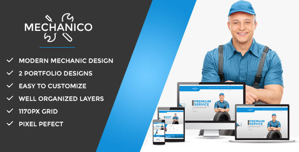 Mechanico – Car Mechanic Shop PSD