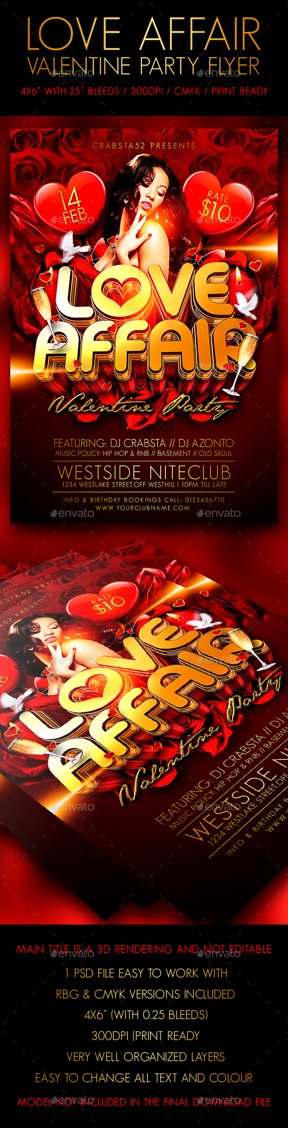Love Affair Valentine Party Flyer - Clubs & Parties Events
