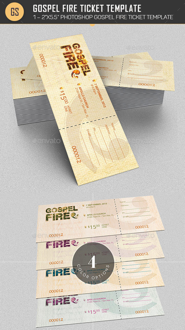 Gospel Fire Ticket Template  - Miscellaneous Print Templates