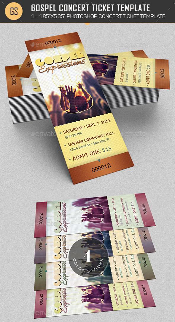 Gospel Concert Ticket Template - Miscellaneous Print Templates