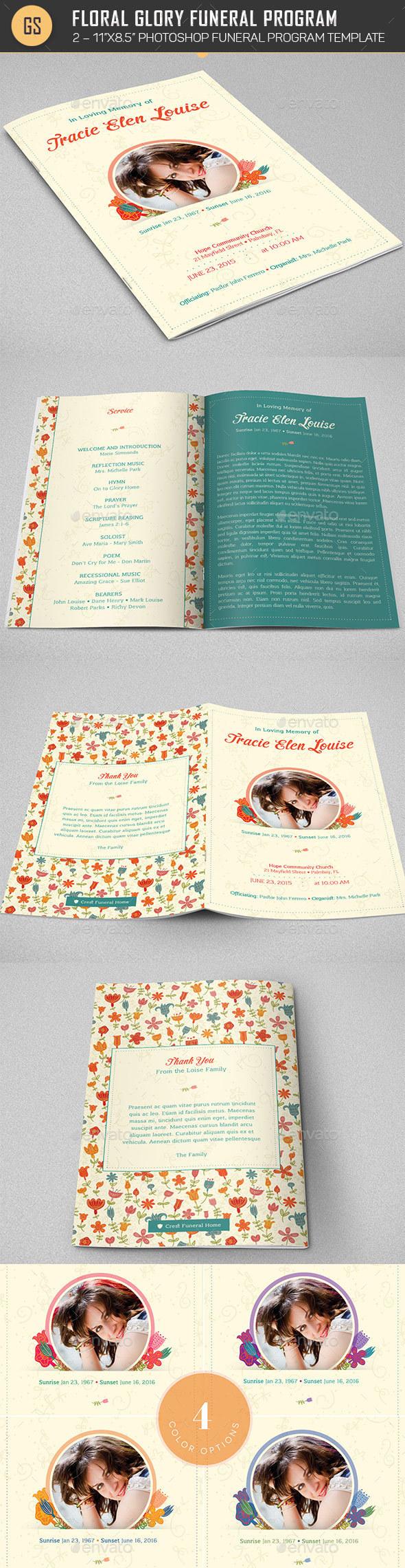 Floral Glory Funeral Program Template - Informational Brochures