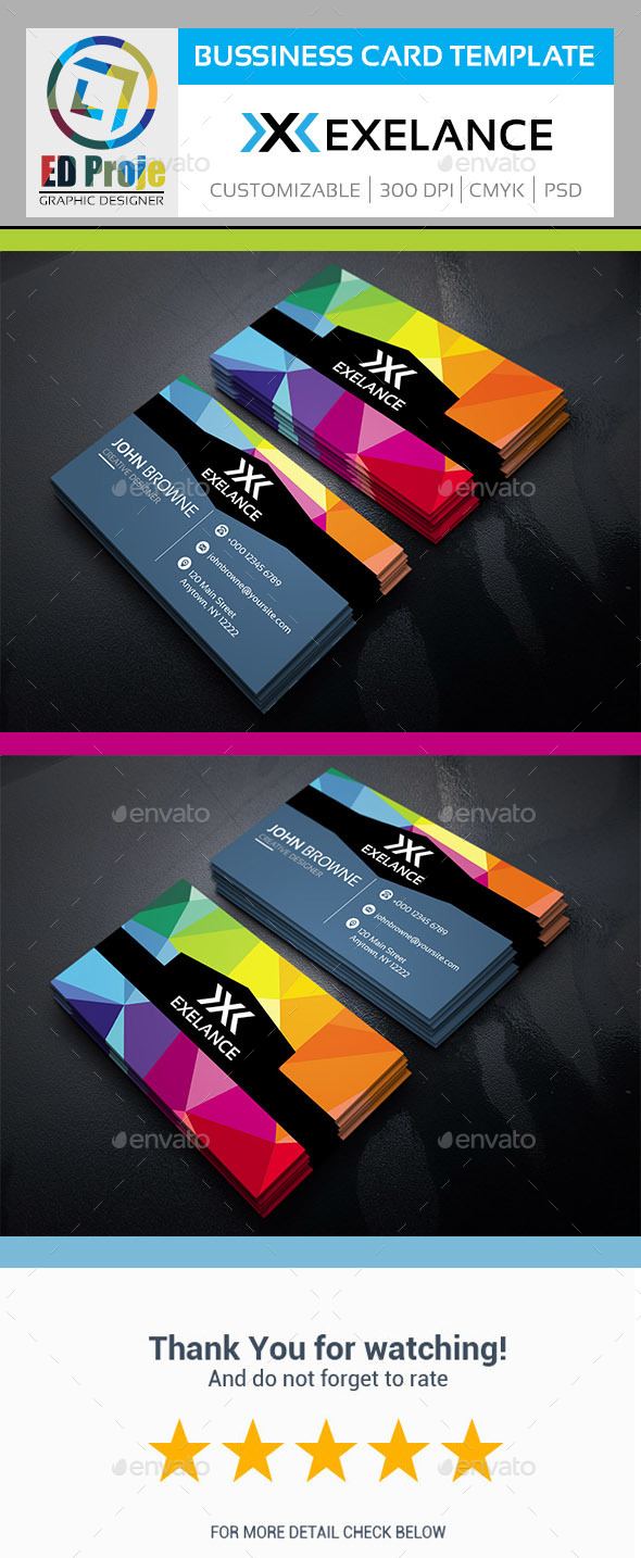 Exelance Business Card - Business Card Template - Corporate Business Cards