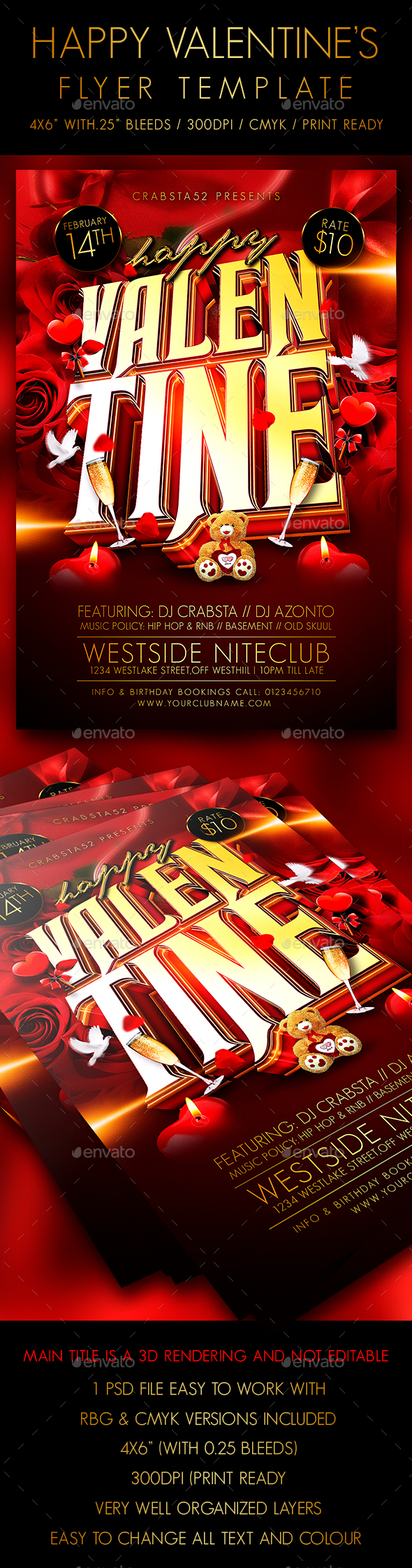 Happy Valentine Flyer Template - Clubs & Parties Events