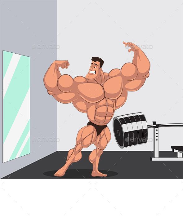 Caricature Bodybuilder - Sports/Activity Conceptual
