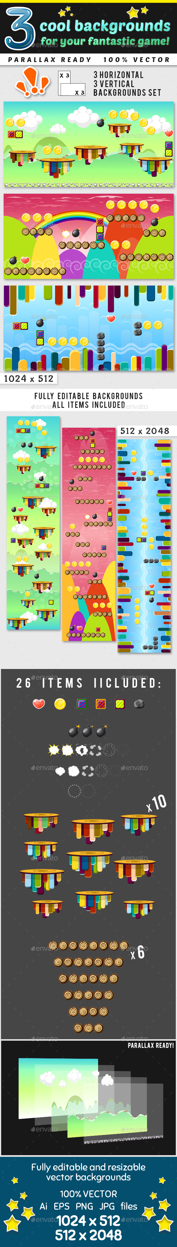 6 Tileable Horizontal and Vertical Backgrounds Set - Backgrounds Game Assets