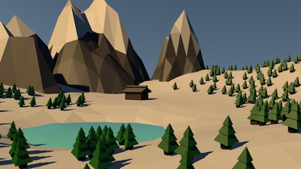 Low Poly Winter Mountains Landscape - 3DOcean Item for Sale