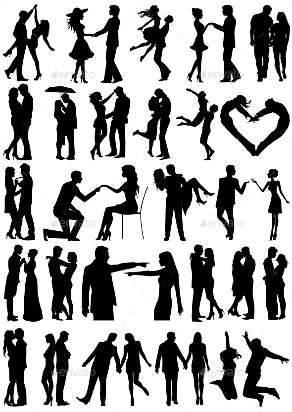 Romantic Couple Silhouettes - People Characters