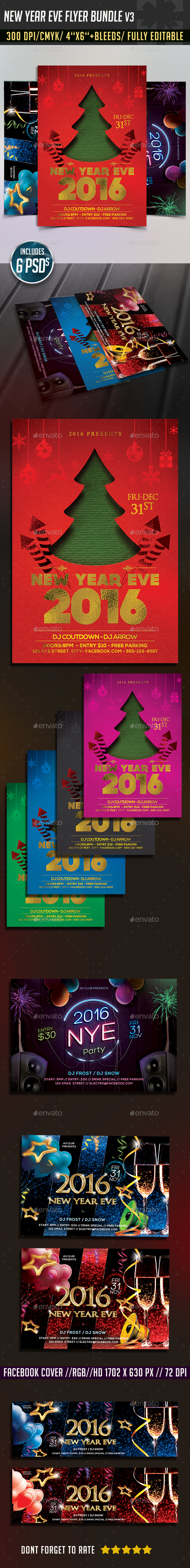 New Years Eve Flyer Bundle v3 - Clubs & Parties Events