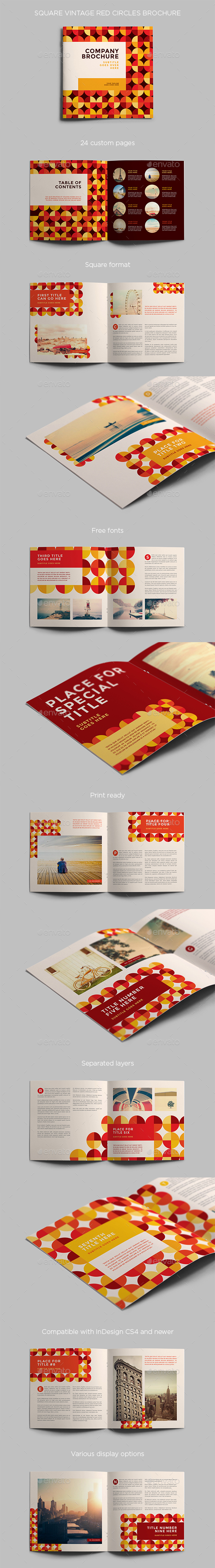 Square Vintage Red Circles Brochure - Brochures Print Templates