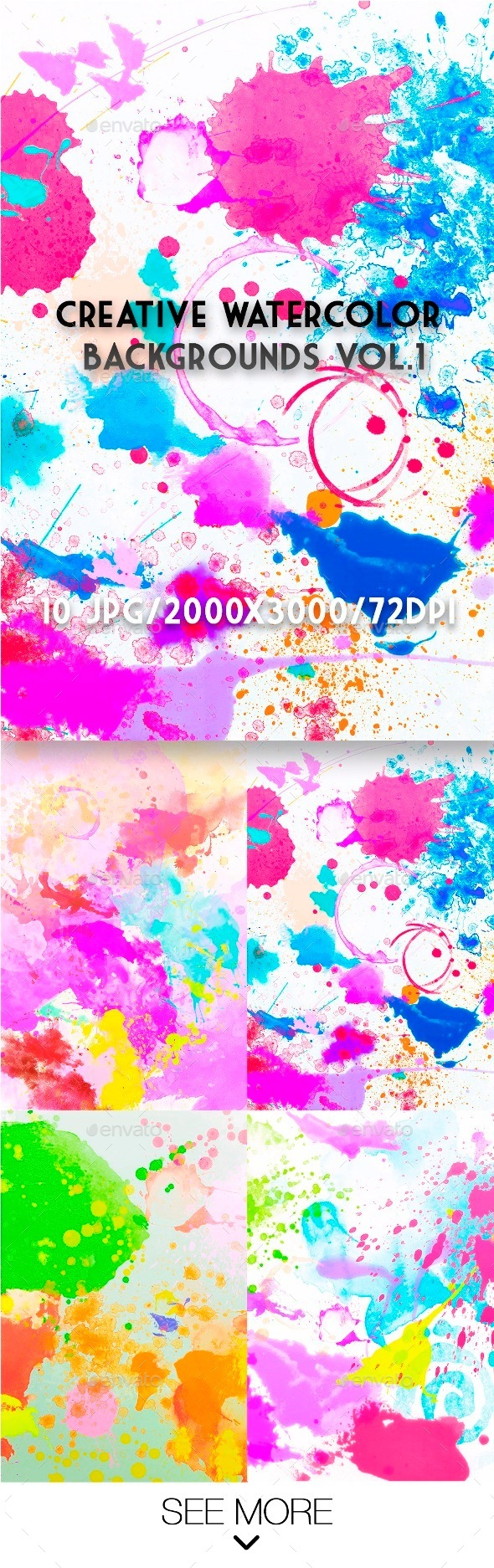 Creative Watercolor Backgrounds Vol.1 - Abstract Backgrounds
