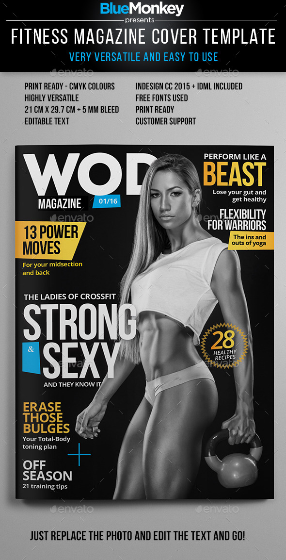 Fitness Magazine Cover Template - Magazines Print Templates