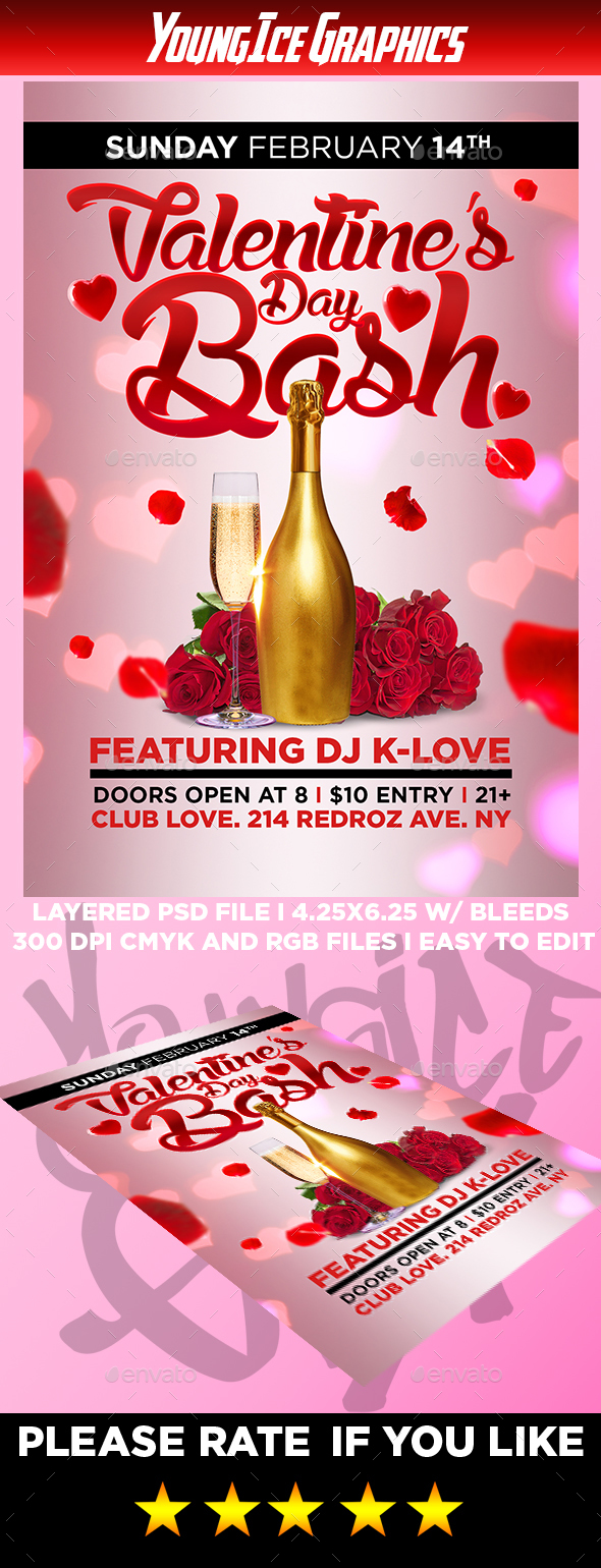 Valentines Bash Flyer Template - Clubs & Parties Events