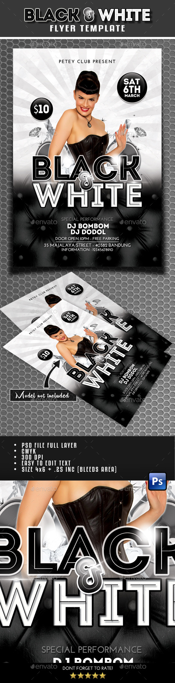 Black and White Flyer - Clubs & Parties Events