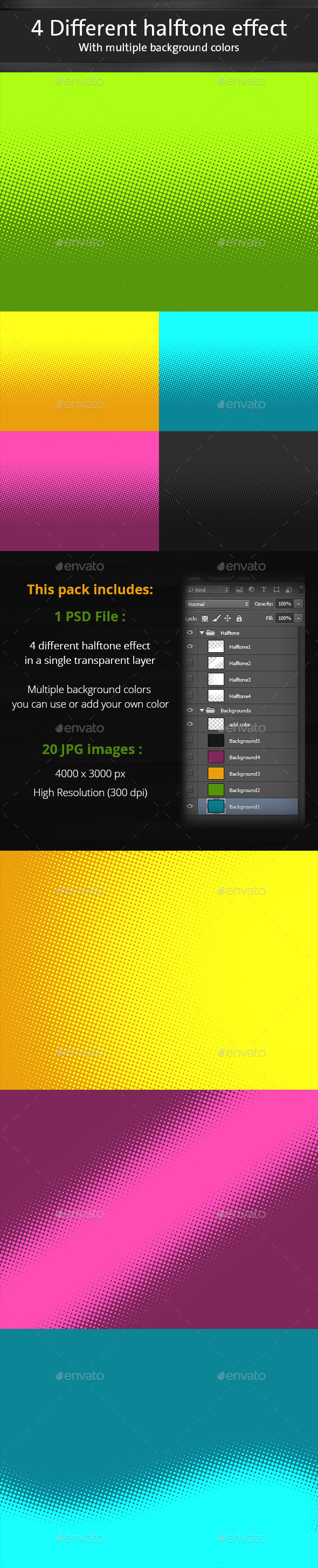 4 Halftone backgrounds - Abstract Backgrounds