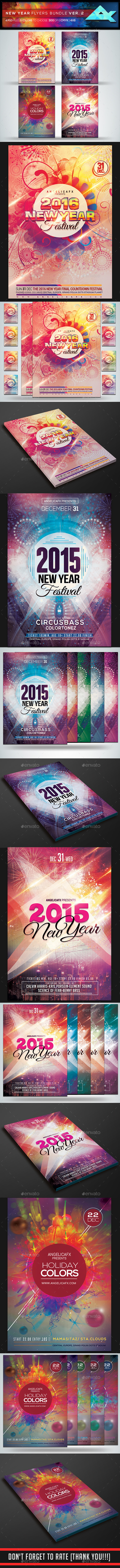 New Year Flyers in Bundle Ver. 2 - Flyers Print Templates