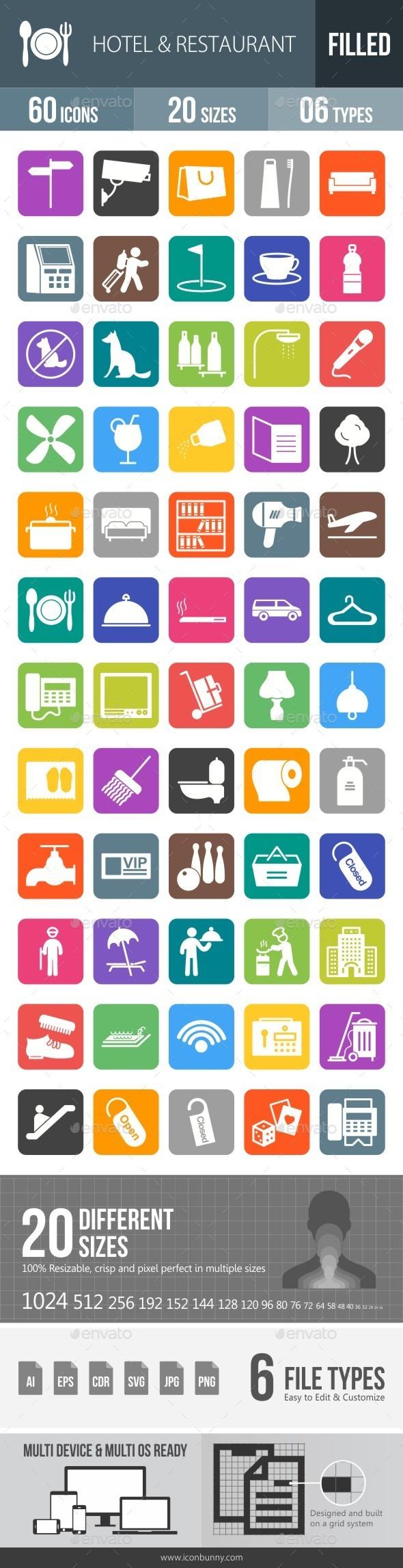 Hotel & Restaurant Flat Round Corner Icons - Icons
