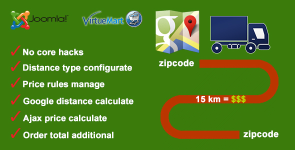 Distance Price Calculation for Virtuemart - CodeCanyon Item for Sale