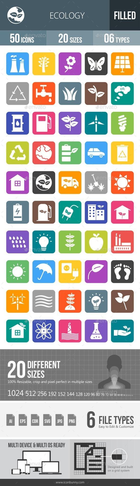 Ecology Flat Round Corner Icons - Icons