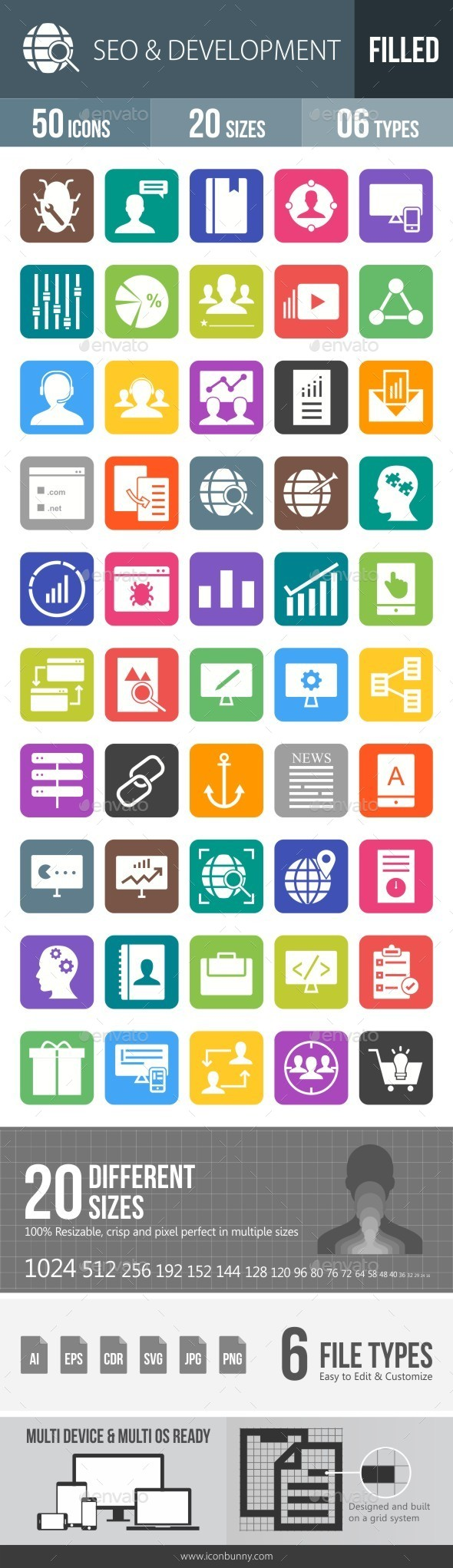 SEO & Development Services Flat Round Corner Icons - Icons