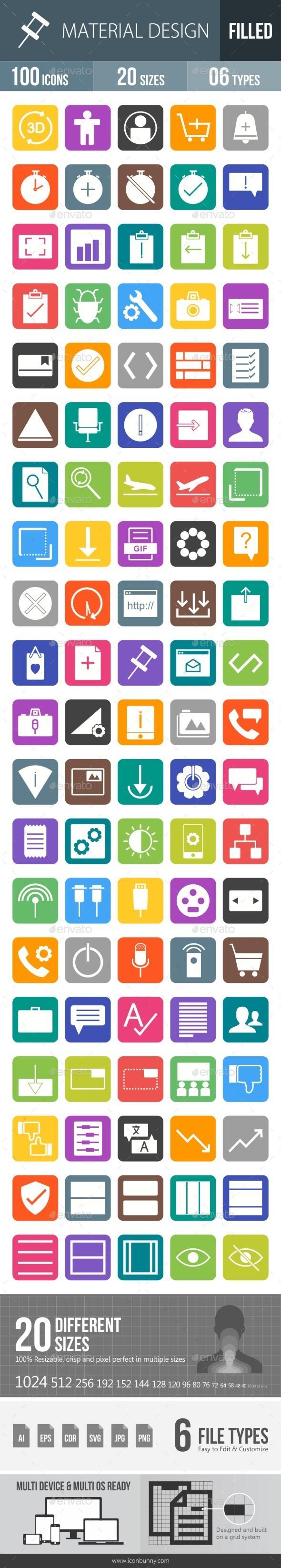 Material Design Flat Round Corner Icons - Icons