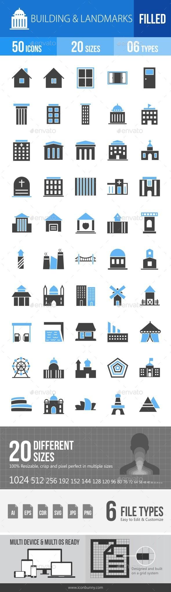 Buildings & Landmarks Blue & Black Icons - Icons