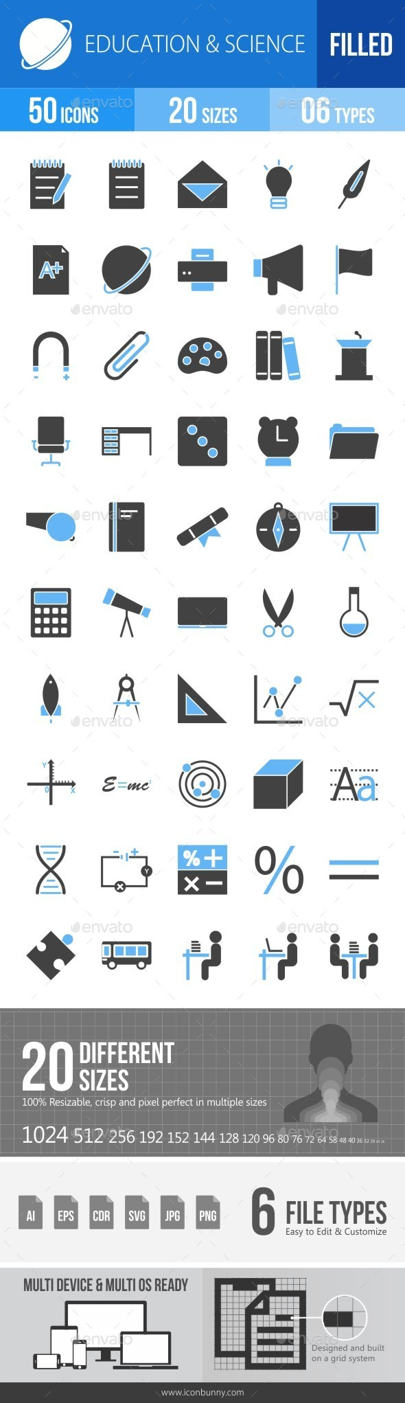 Education & Science Blue & Black Icons - Icons