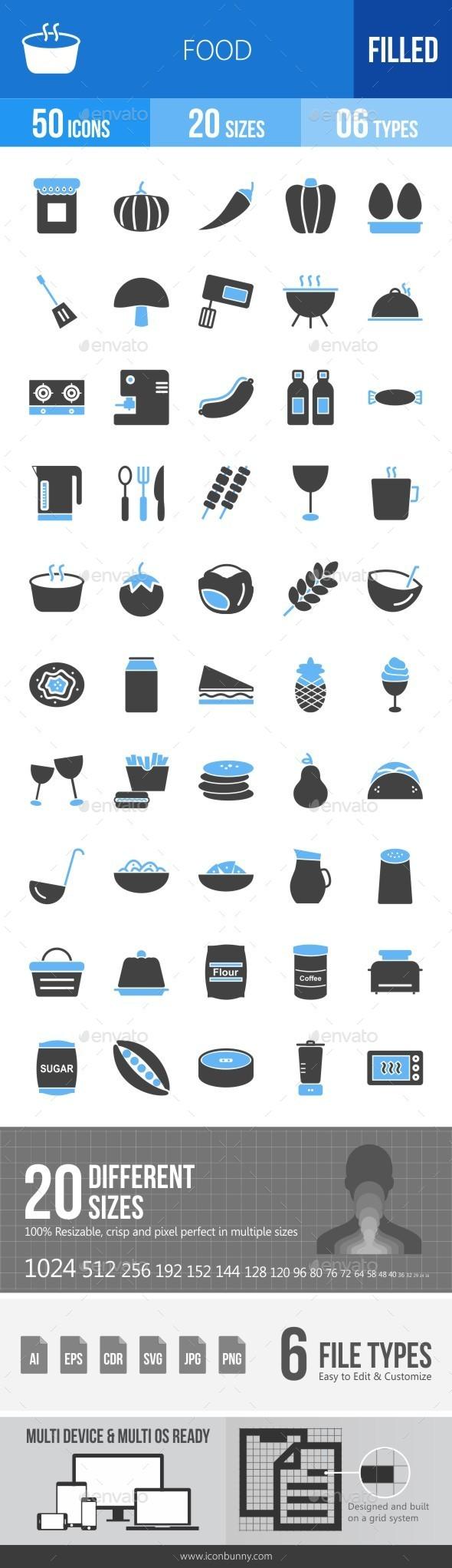 Food Blue & Black Icons - Icons