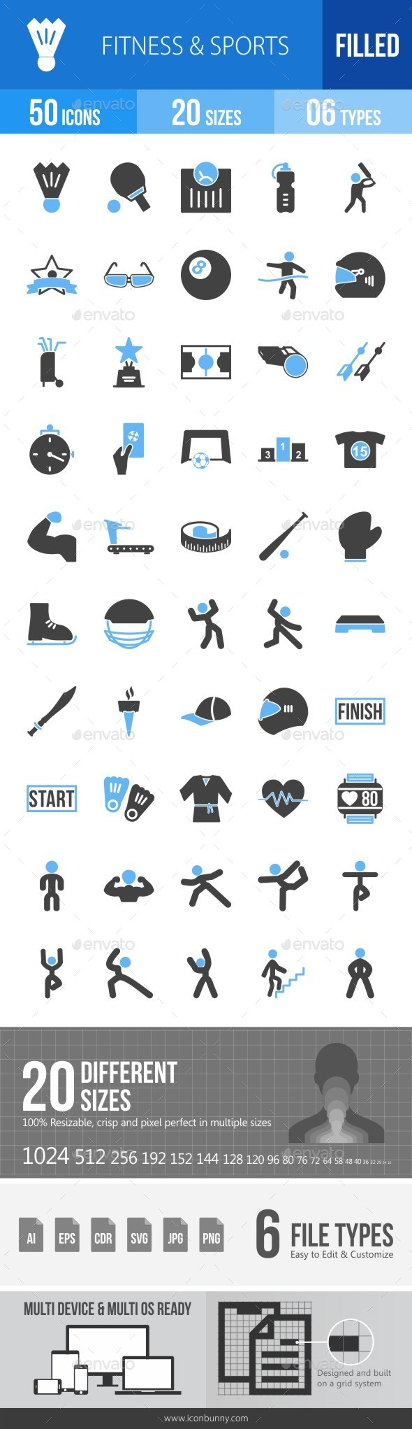Fitness & Sports Blue & Black Icons - Icons