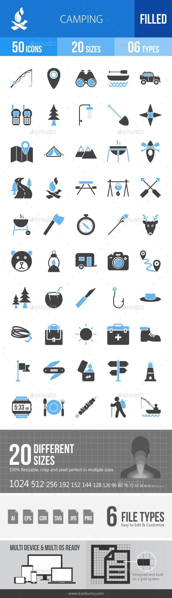 Camping Blue & Black Icons - Icons