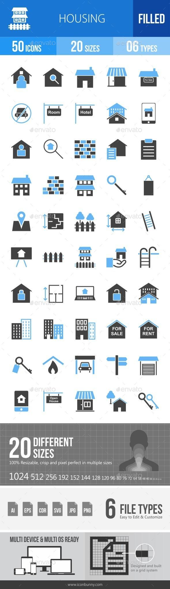 Housing Blue & Black Icons - Icons